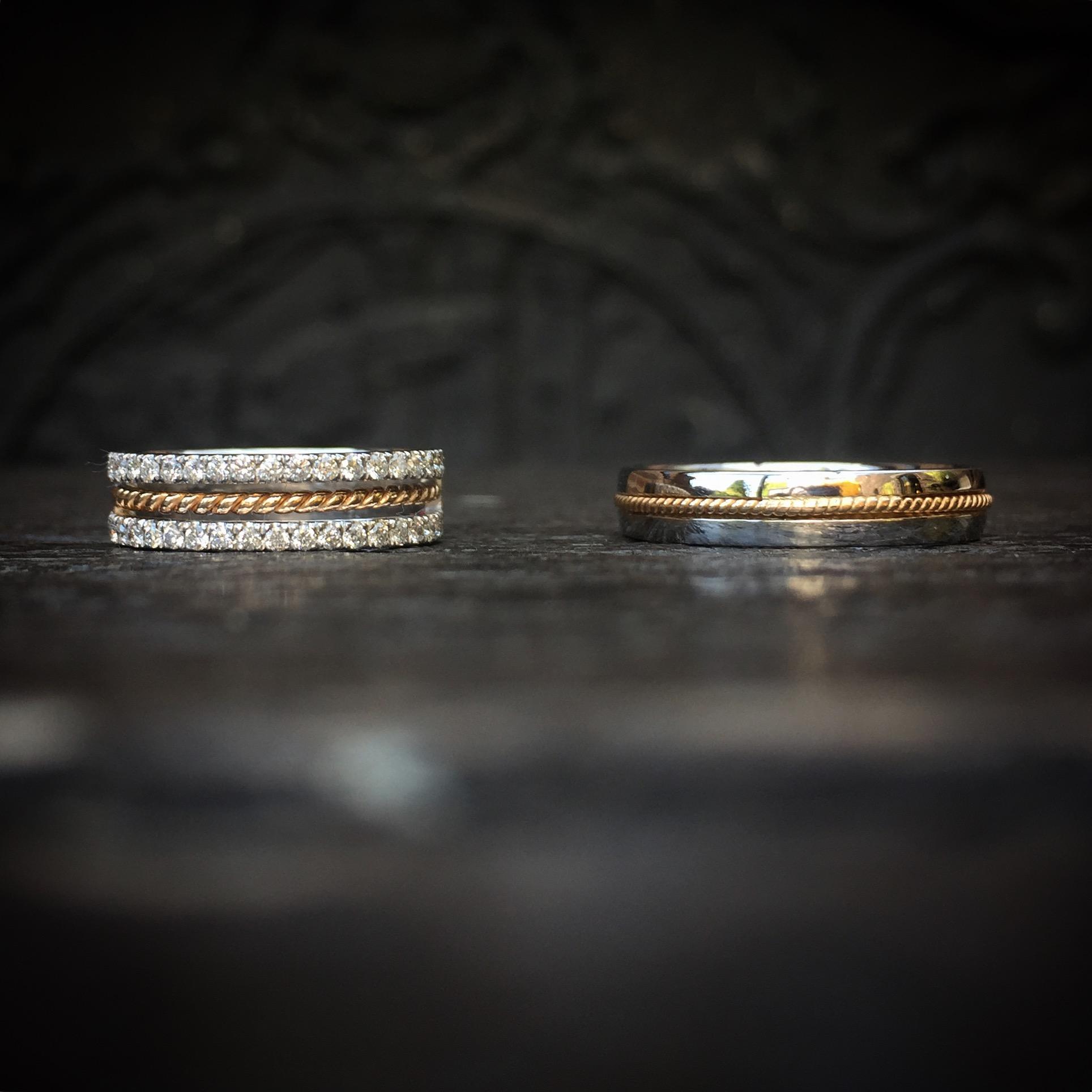 alliances or blanc, or rose, diamants